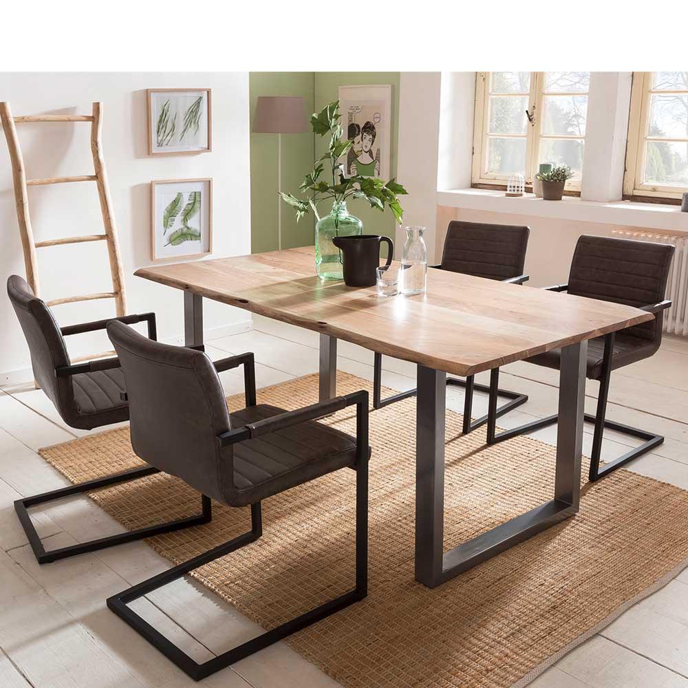 Loft Design Essgruppe mit Baumkantentisch dunkelbraunen Freischwingern (fünfteilig)