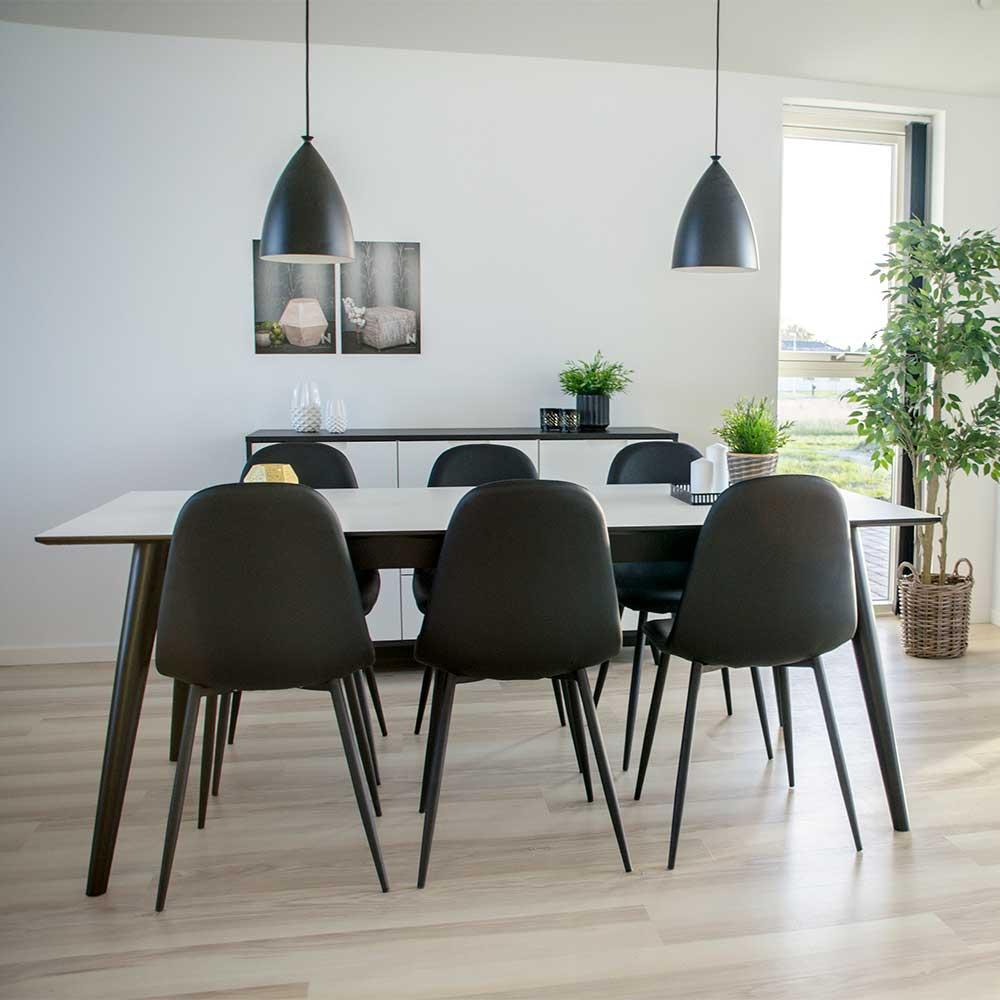 Ausziehbare Essgruppe in Schwarz und Weiß Skandi Design (siebenteilig)