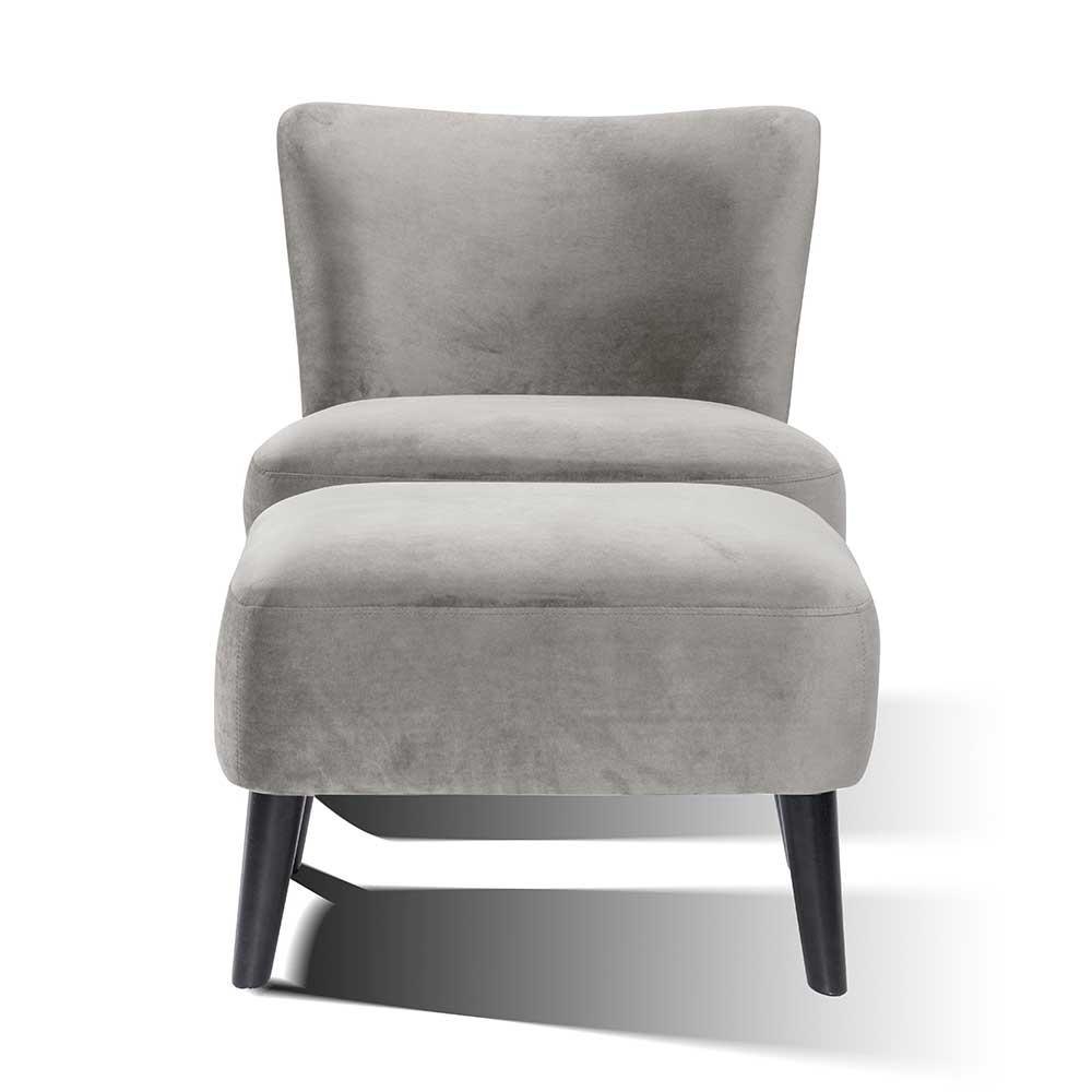 Samt Sessel mit Fußhocker Grau (zweiteilig)