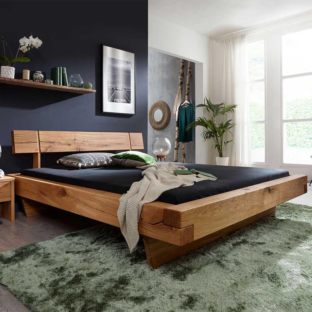 Balkenholz Bett aus Wildeiche Massivholz 40 cm Einstiegshöhe