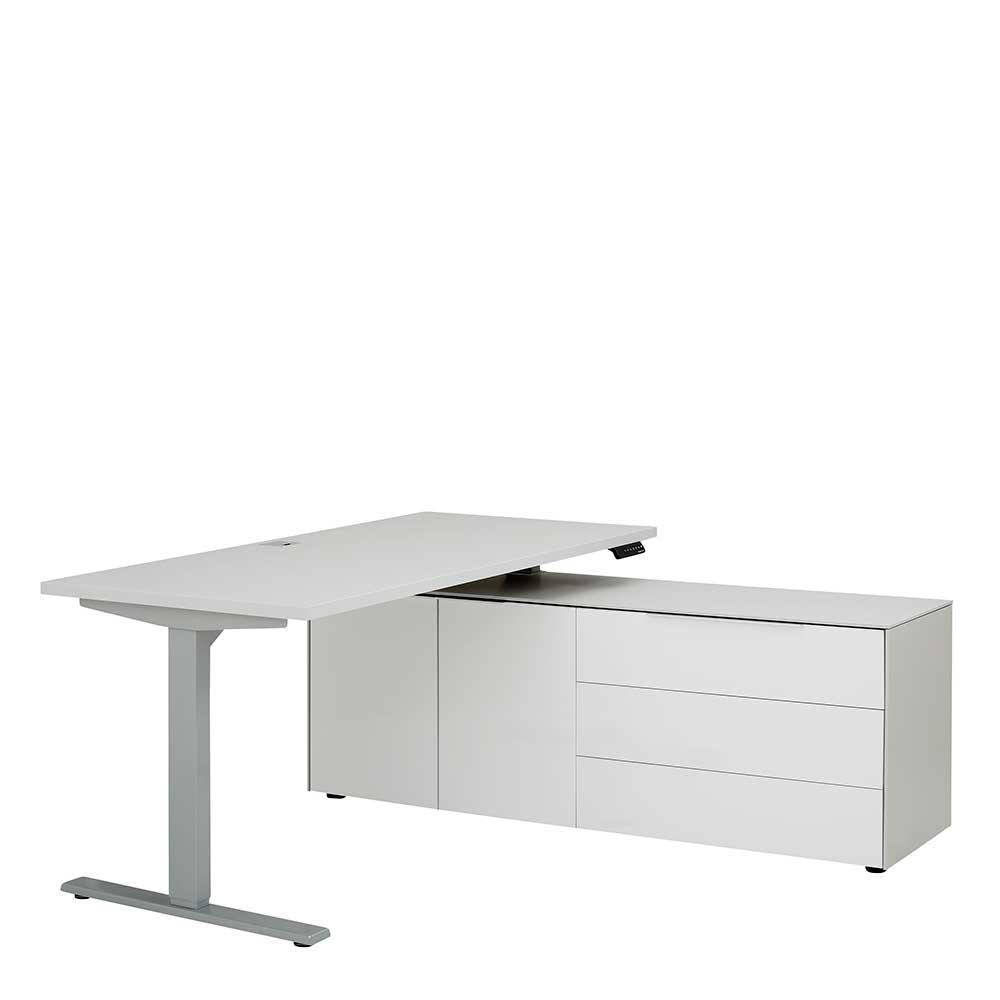 Höhenverstellbarer Computertisch in Weiß und Grau Made in Germany