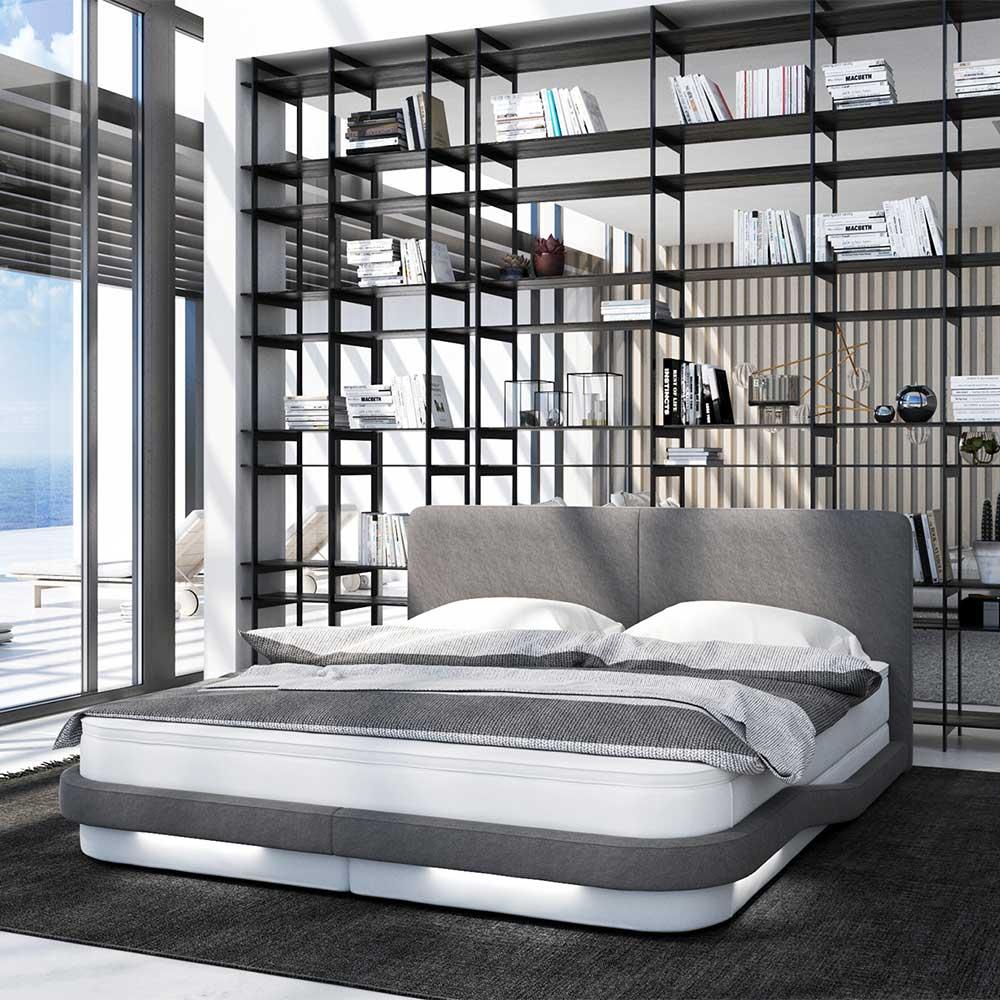 Boxbett in Grau und Weiß LED Beleuchtung