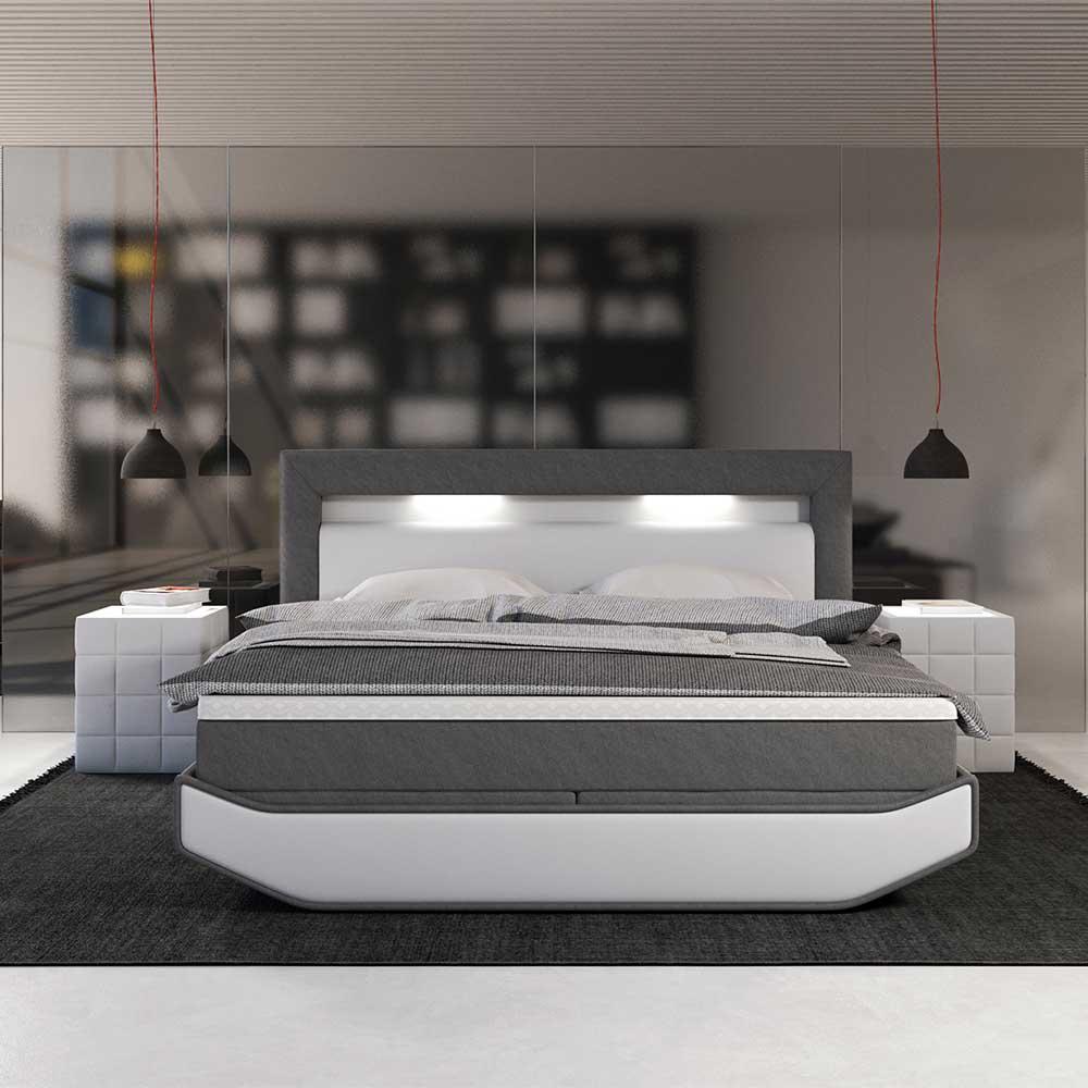 Design Boxspringbett in Grau und Weiß LED Beleuchtung