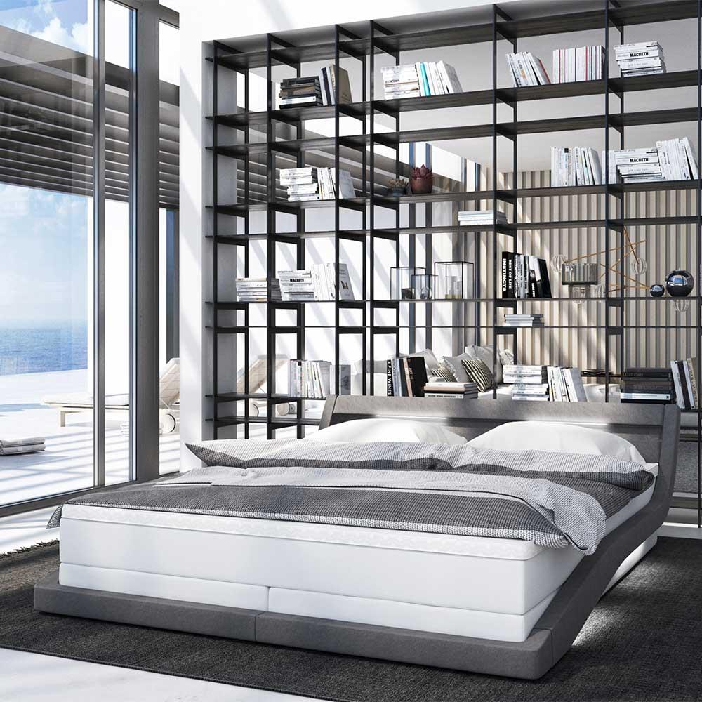 Design Springboxbett in Grau und Weiß LED Beleuchtung