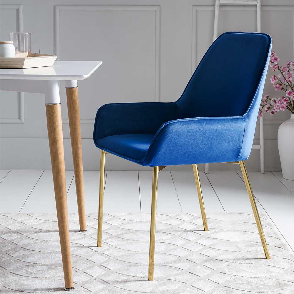 Samt Esstisch Stühle in Blau Metallgestell in Goldfarben (2er Set)