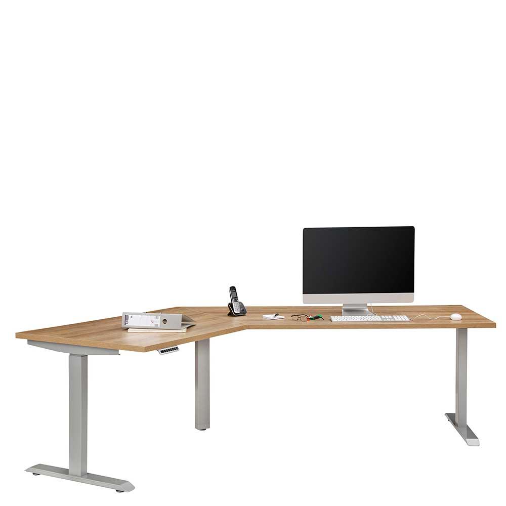 Eck Computertisch in Eichefarben höhenverstellbar