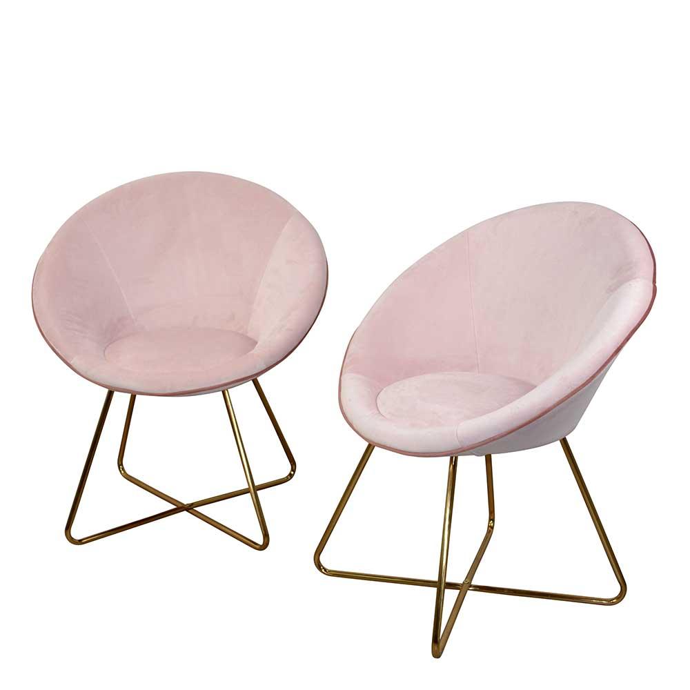 Retro Esstisch Sessel in Rosa und Goldfarben Samtbezug