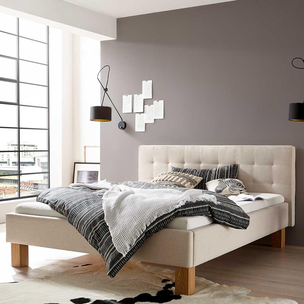 Gepolstertes Bett in Beige Webstoff 160×200 cm
