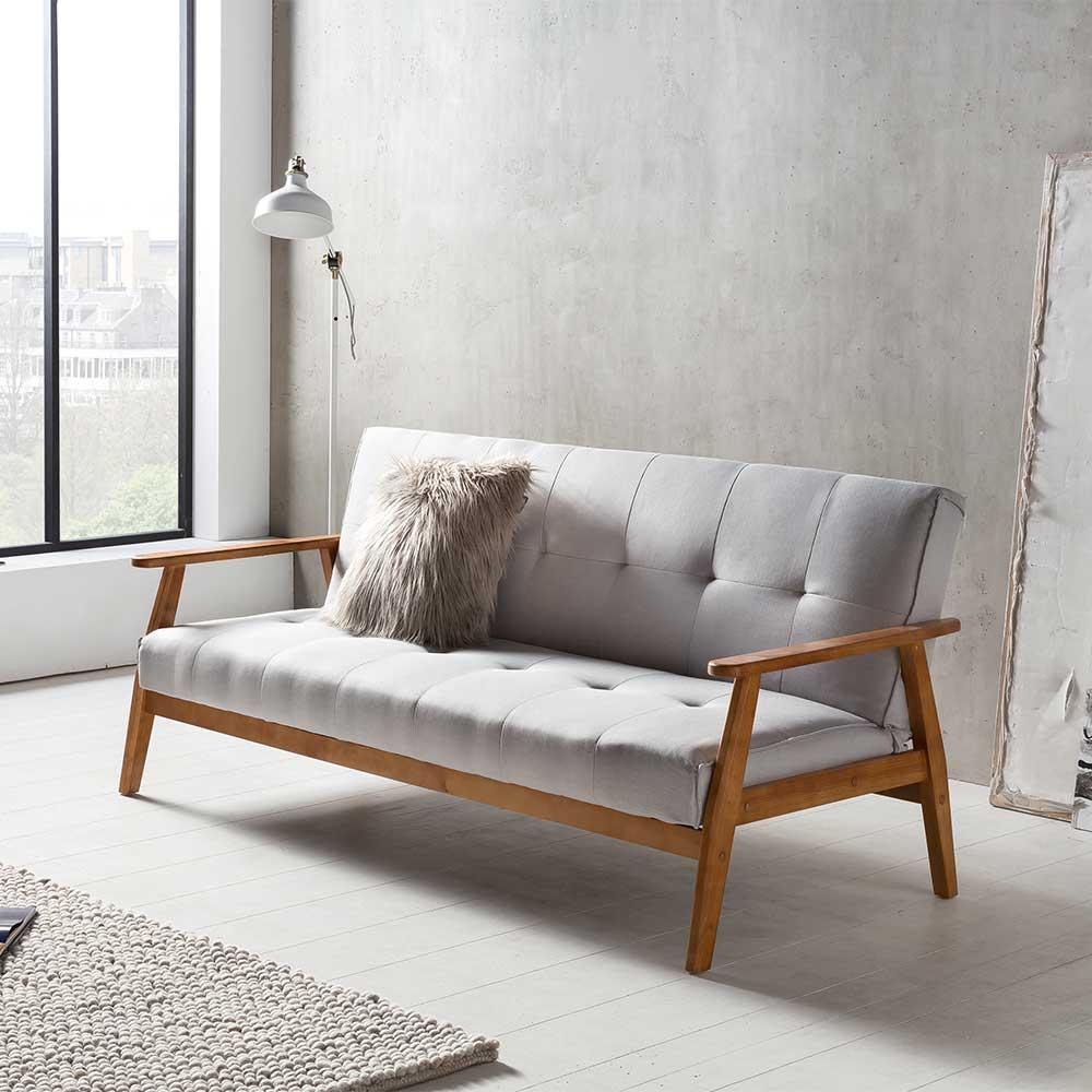 Zweier Sofa in Hellgrau Webstoff Schlaffunktion