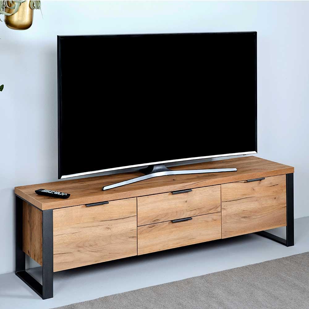 TV Kommode in Eichefarben und Schwarz 45 cm hoch