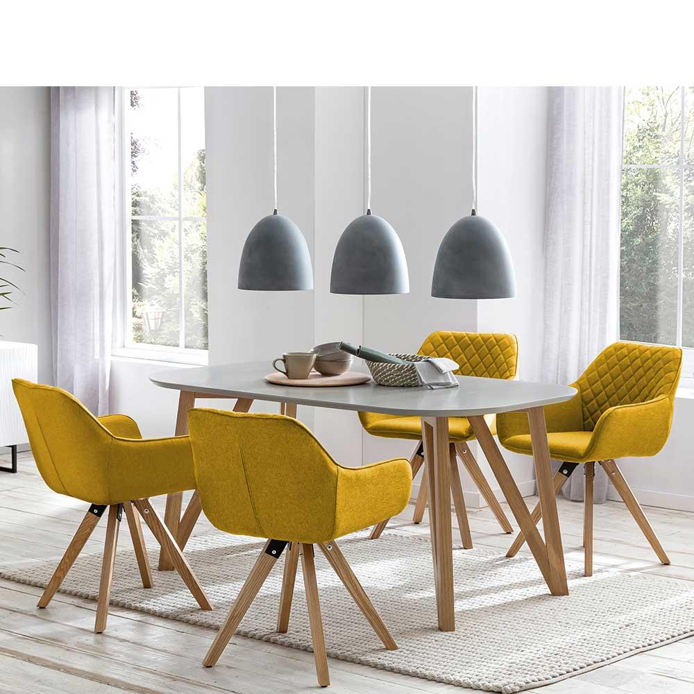 Essgruppe in Gelb und Grau Skandi Design (fünfteilig)
