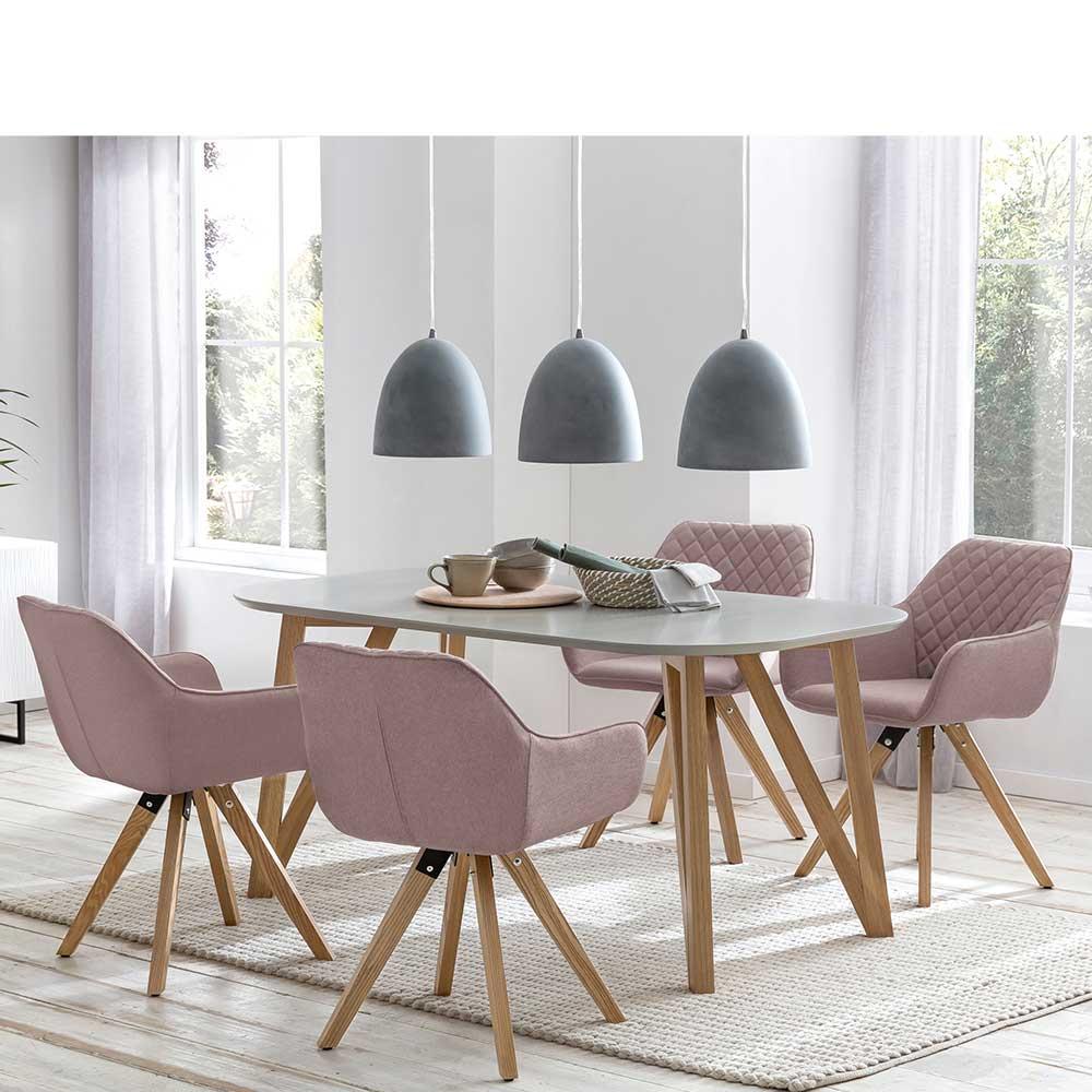 Esszimmer Sitzgruppe in Grau und Altrosa Skandi Design (5-teilig) | Küche und Esszimmer > Essgruppen | Rodario
