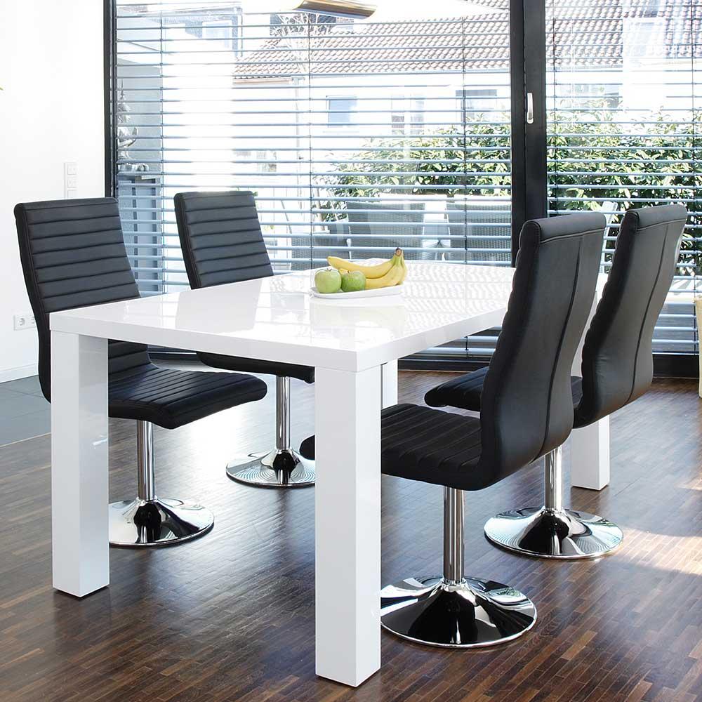 Moderne Essgruppe in Schwarz und Weiß Hochglanz drehbaren Stühlen (fünfteilig)