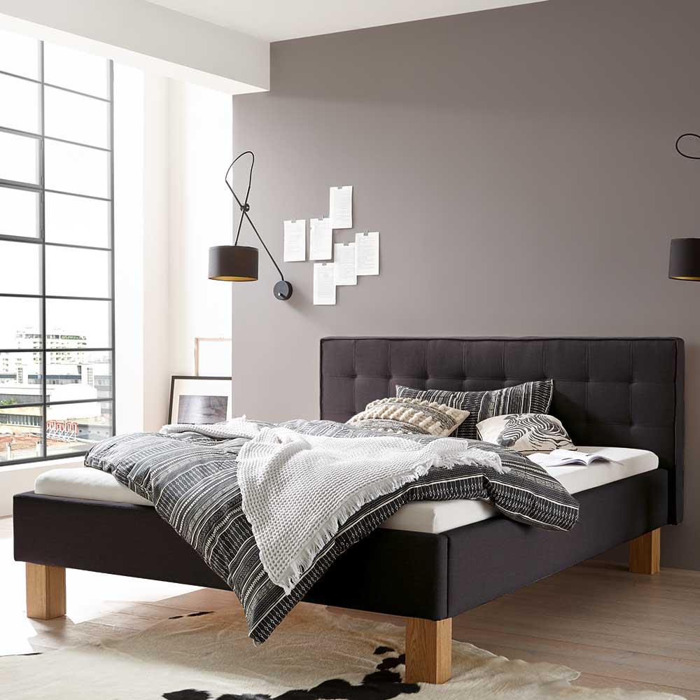Bett in Anthrazit Webstoff Eiche Bianco