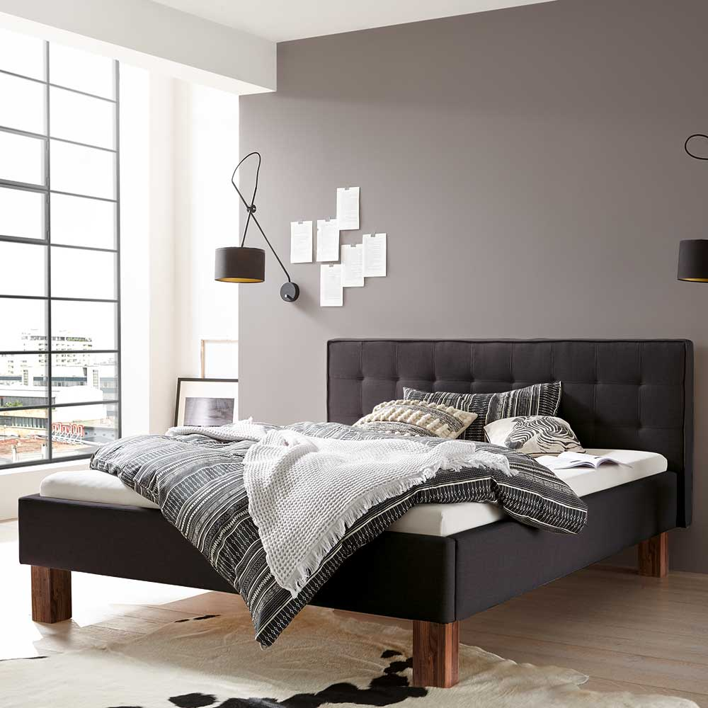 Gepolstertes Bett in Anthrazit Webstoff 160×200 cm