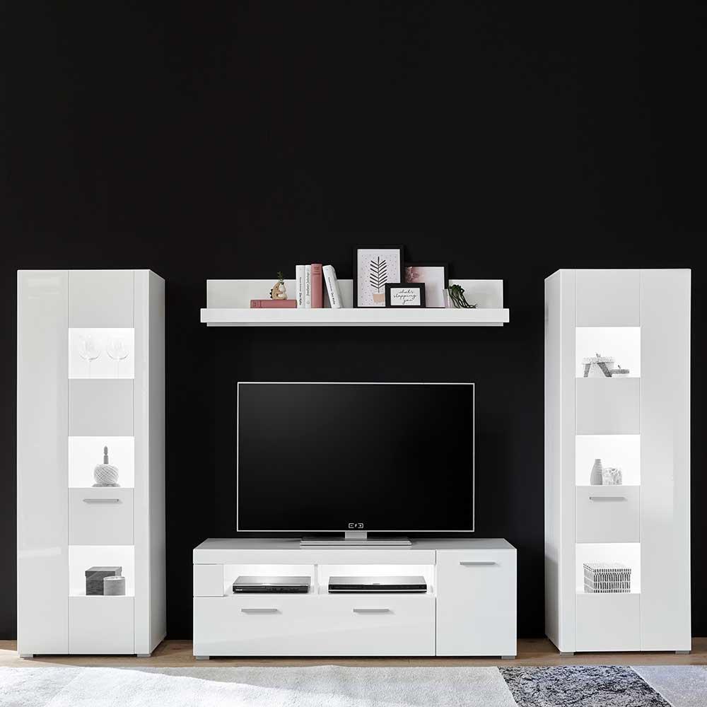 Design Wohnwand in Hochglanz Weiß 170 cm hoch (vierteilig)