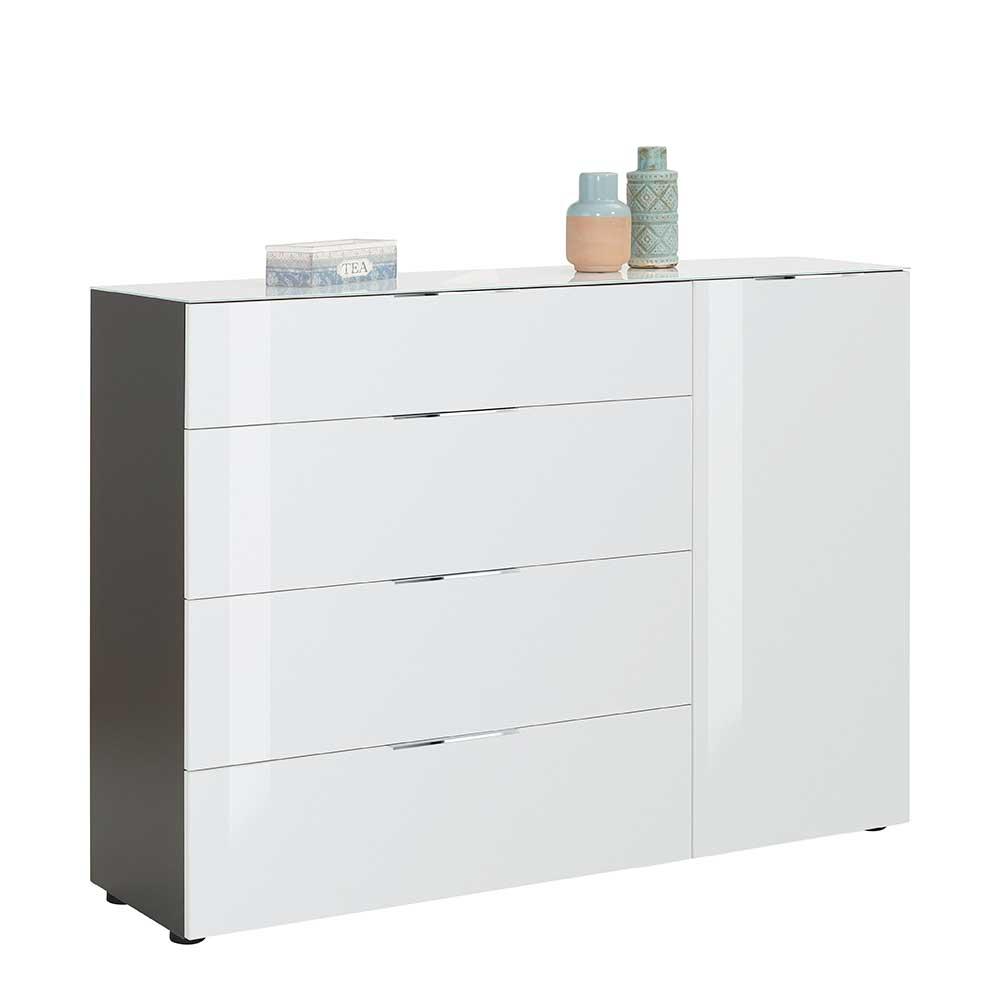 Office Sideboard in Weiß und Anthrazit Glas beschichtet
