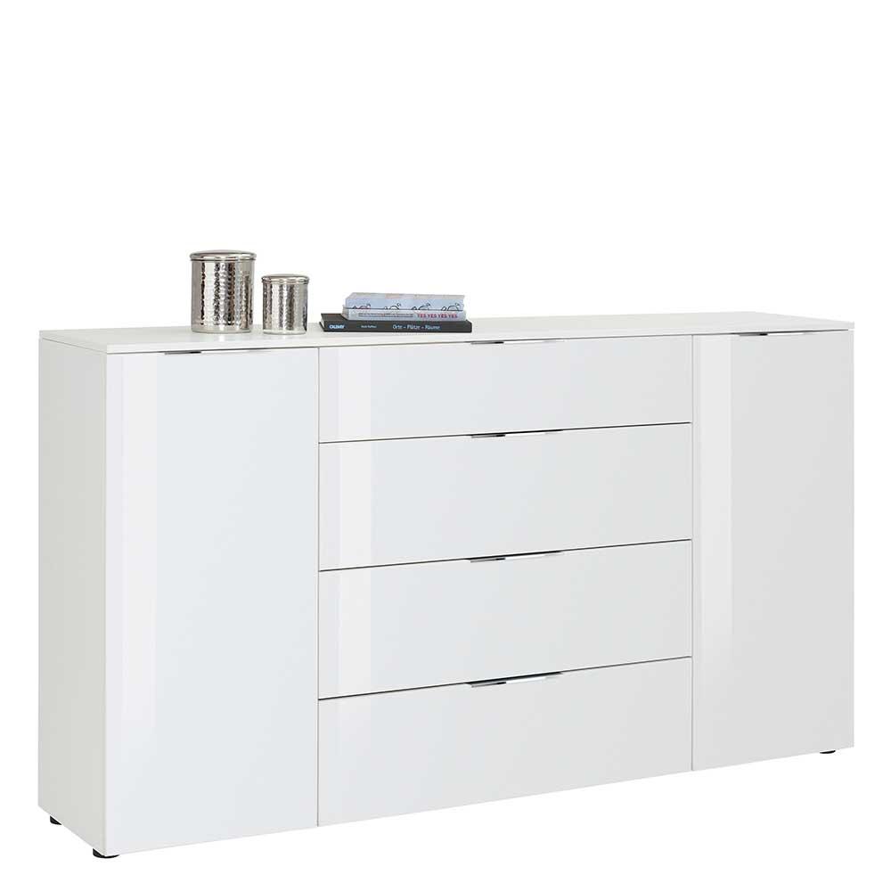 Weißes Sideboard mit Glas beschichtet 100 cm hoch