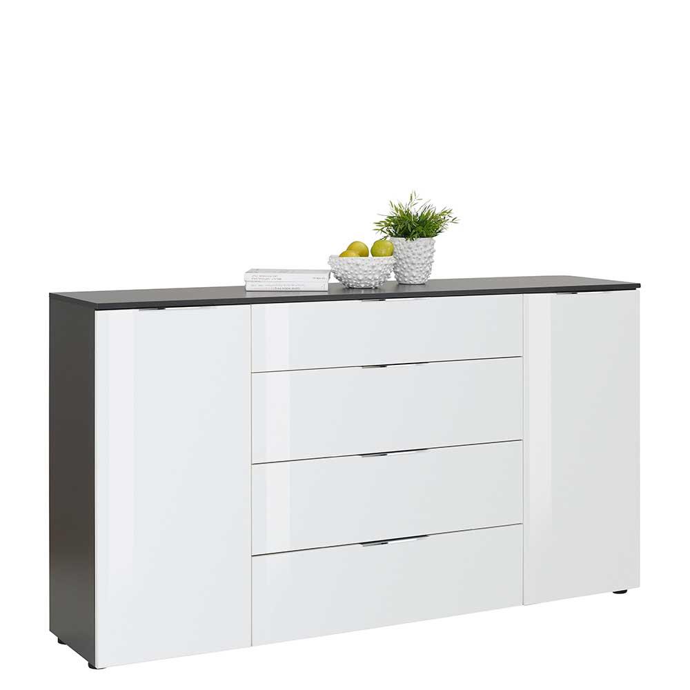 Modernes Sideboard in Weiß und Anthrazit Glas beschichtet
