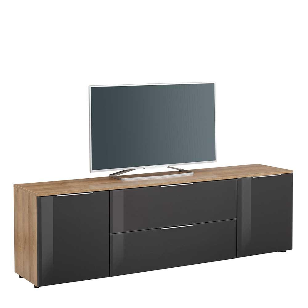 TV Lowboard in Anthrazit und Eiche Optik Glas beschichtet