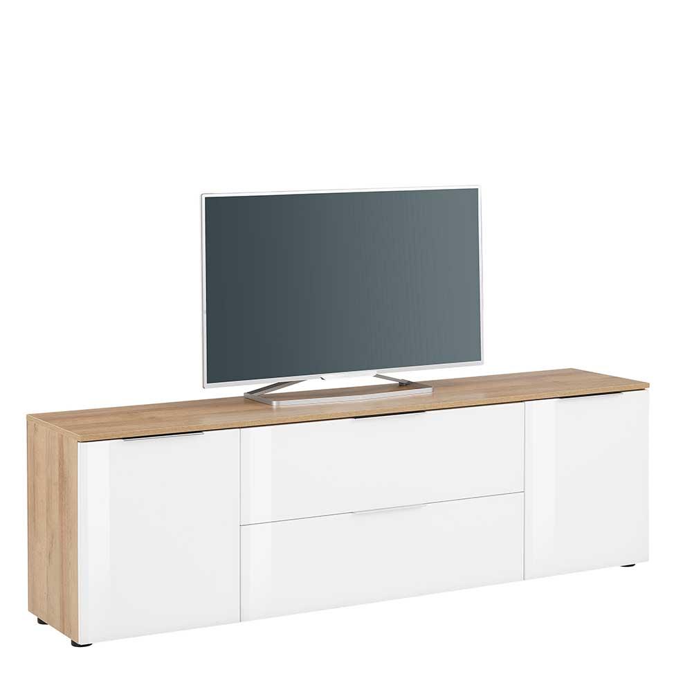 TV Möbel in Weiß und Eichefarben Made in Germany