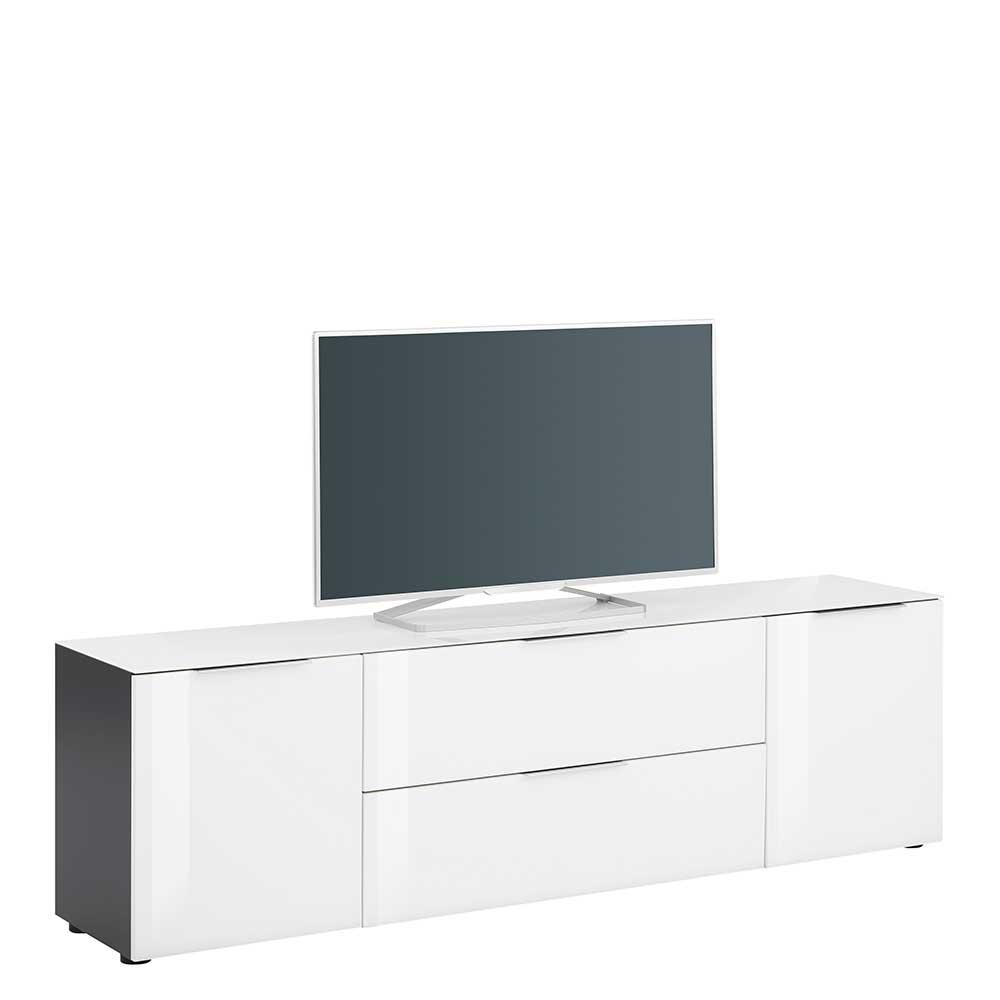 TV Lowboard in Weiß und Anthrazit Glas beschichtet