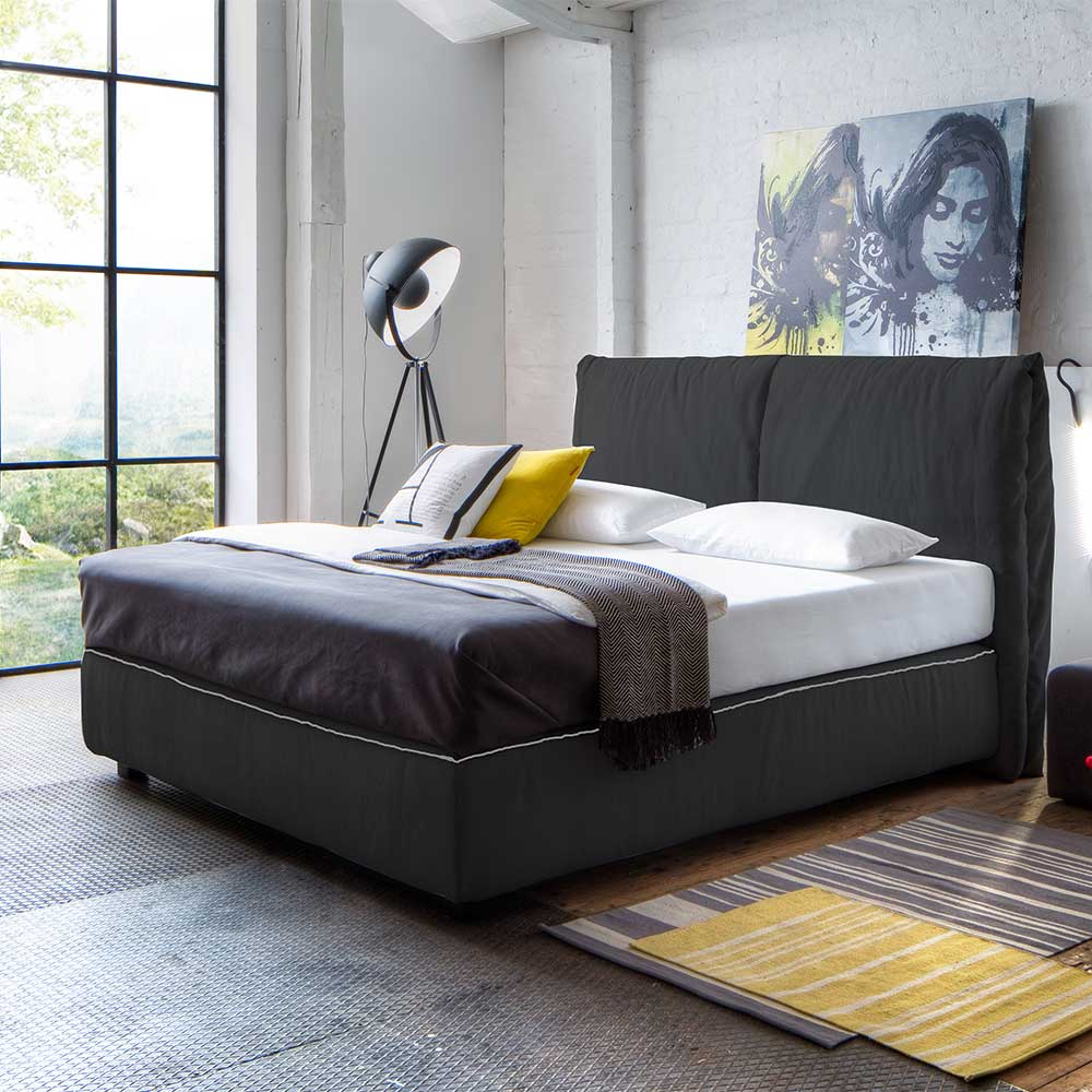 Boxspringbett in Anthrazit Webstoff Made in Germany