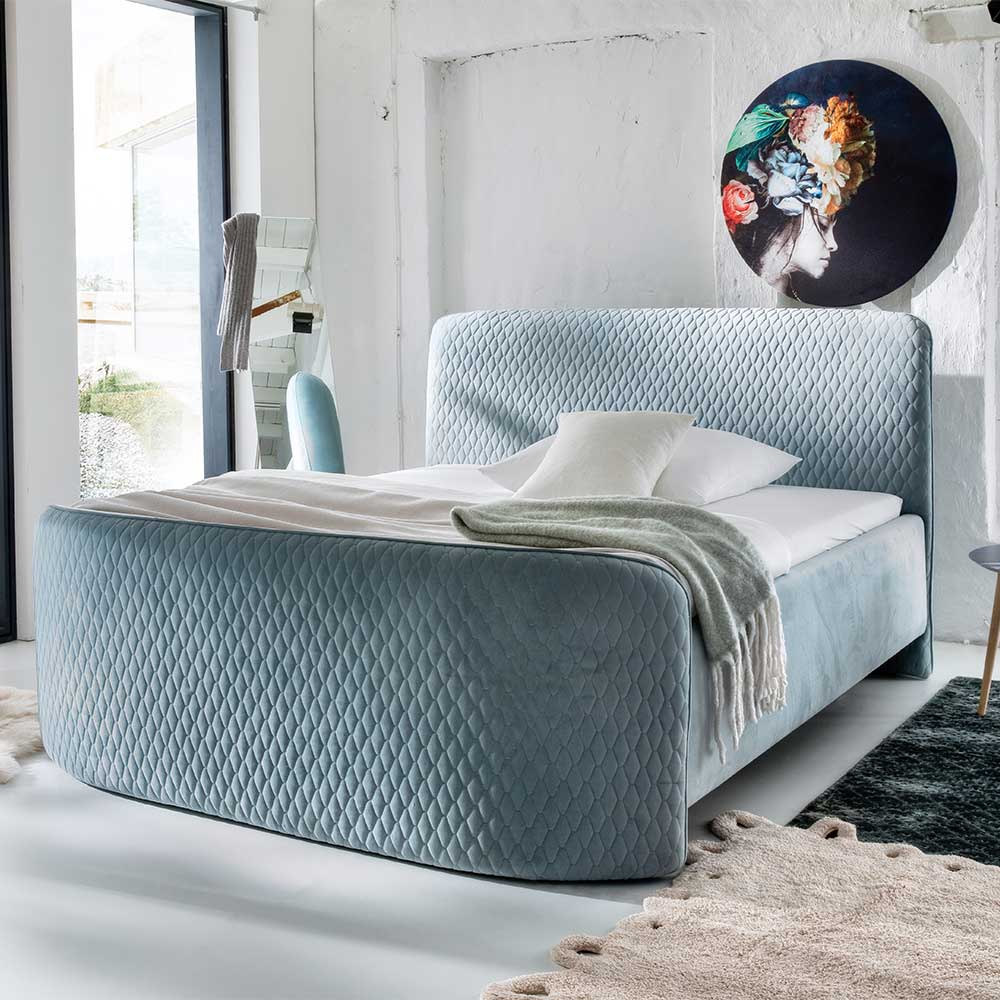 Boxspring Bett in Mintgrün Microfaser 180×200 cm
