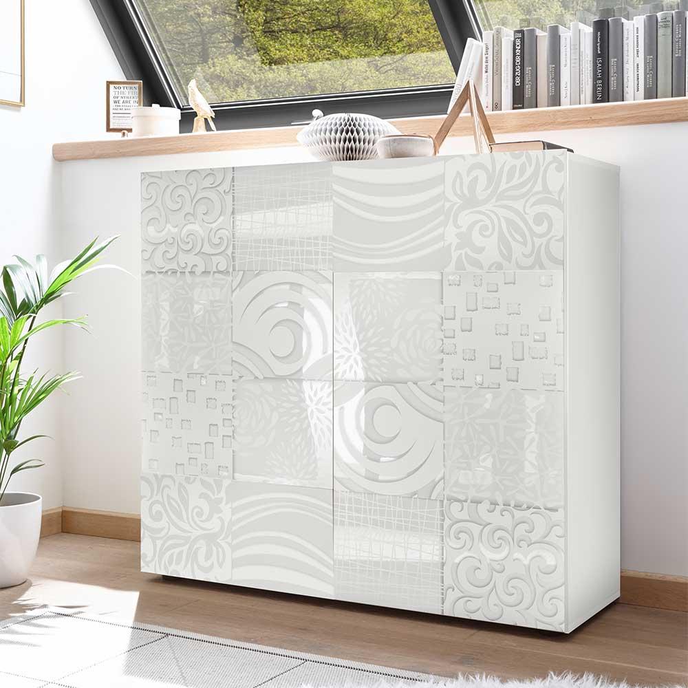 Kommode in Weiß Hochglanz Siebdruck verziert