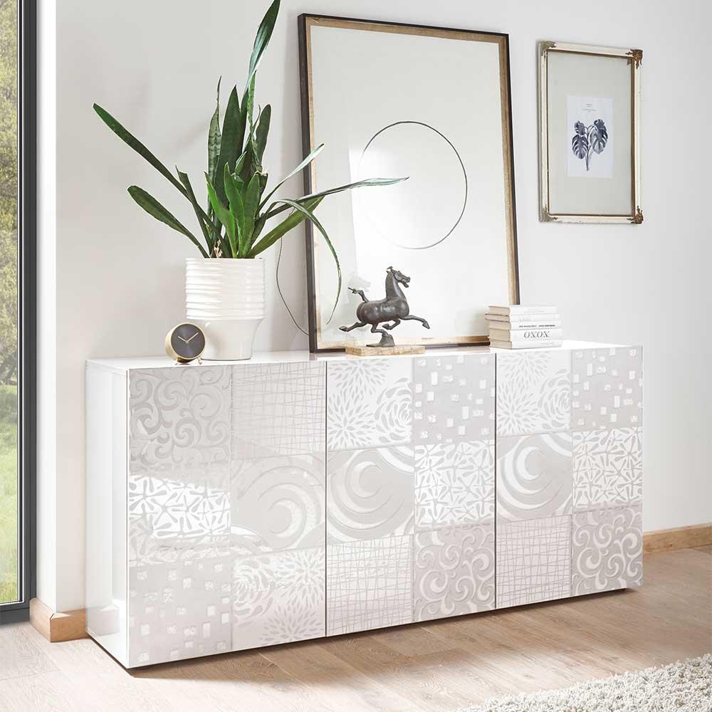 Türen Sideboard in Weiß Hochglanz Siebdruck verziert