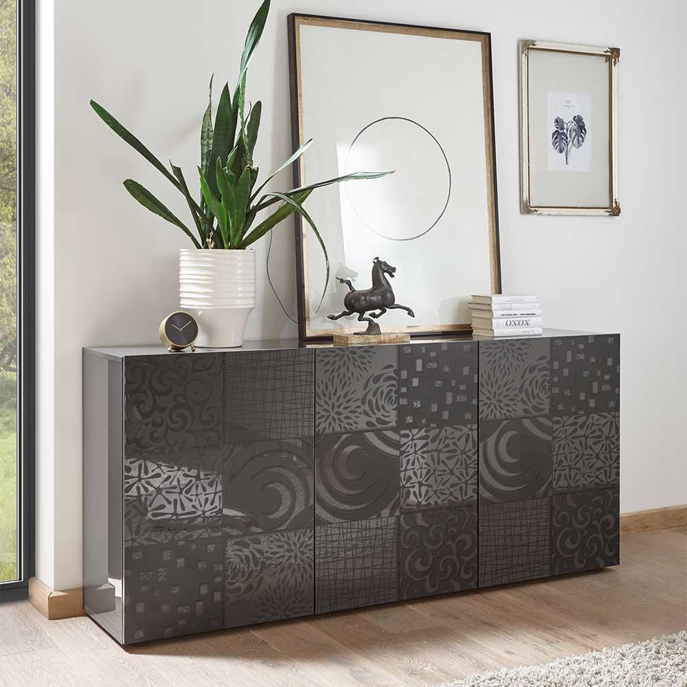 Modernes Sideboard in Anthrazit Hochglanz floralem Siebdruck verziert