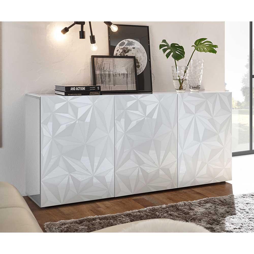 Wohnzimmer Kommode in Hochglanz Weiß Siebdruck verziert
