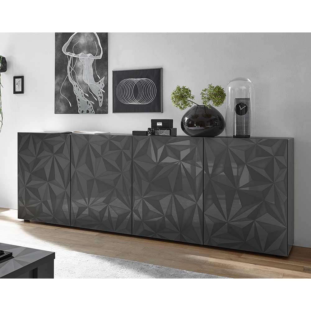 Design Sideboard in Anthrazit Hochglanz Siebdruck verziert
