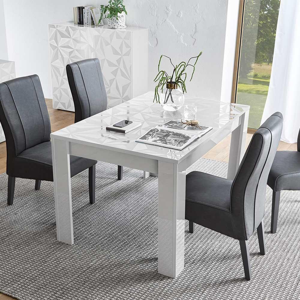 Ausziehbarer Esstisch in Weiß Hochglanz Siebdruck verziert