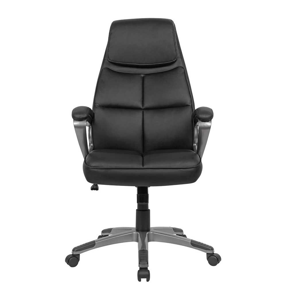 Chef Sessel in Schwarz Kunstleder hoher Lehne und Armlehnen