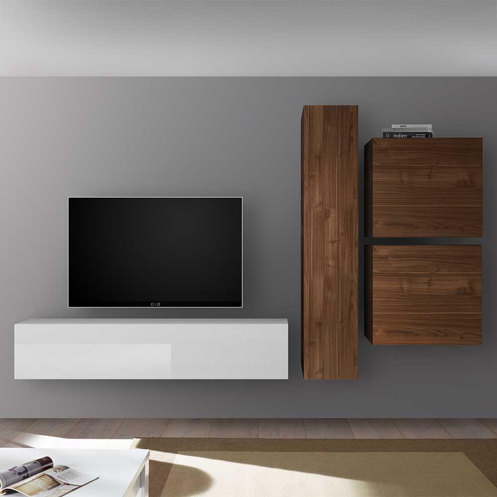 TV Wohnwand in Nussbaumfarben und Weiß Hochglanz hängend (vierteilig)