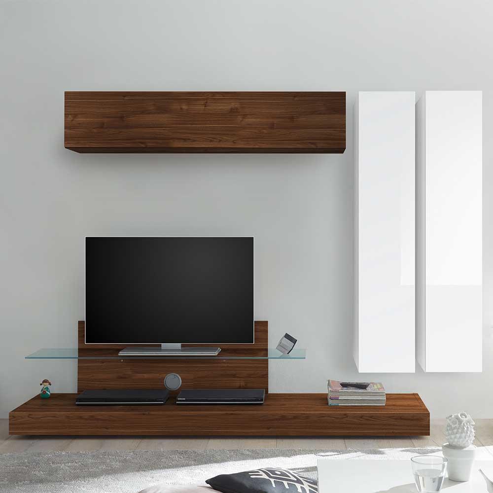 Designer Wohnwand in Nussbaumfarben und Weiß Hochglanz 230 cm breit (vierteilig)