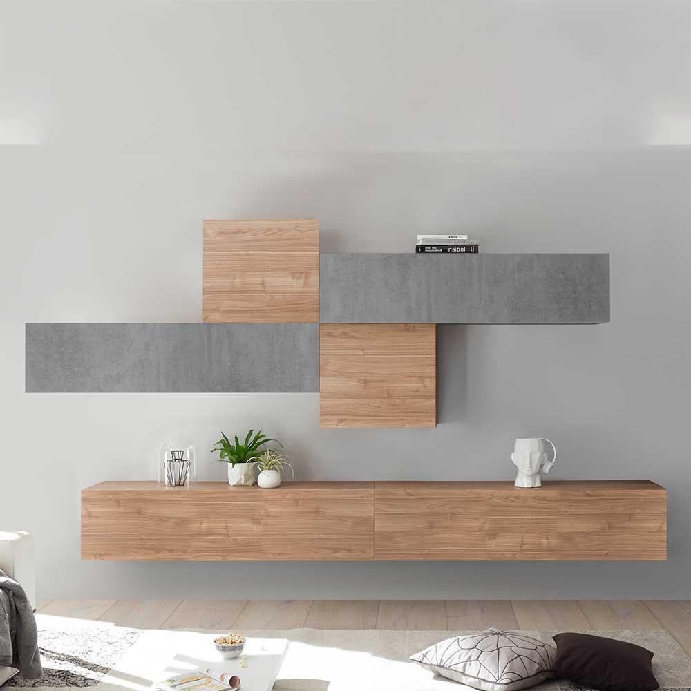 Design Wohnwand in Nussbaum hell und Beton Grau hängend (sechsteilig)