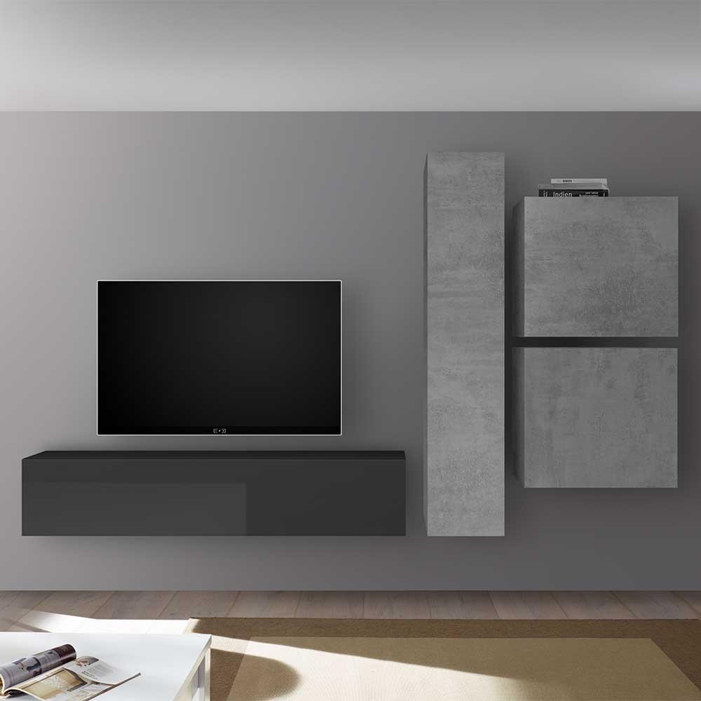 Hängende TV Wand in Beton Grau und Anthrazit modern (vierteilig)