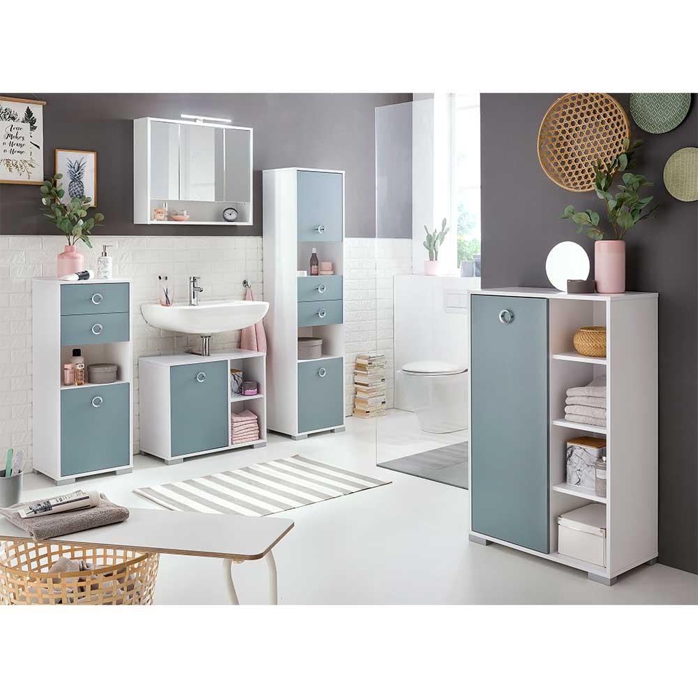 Badezimmerset in Hellblau und Weiß modern (fünfteilig)
