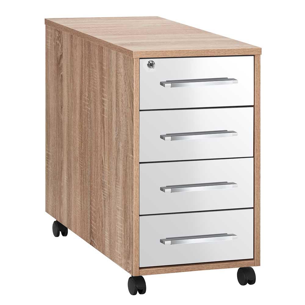 Schreibtisch Rollcontainer in Weiß Hochglanz und Eiche Sonoma abschließbar