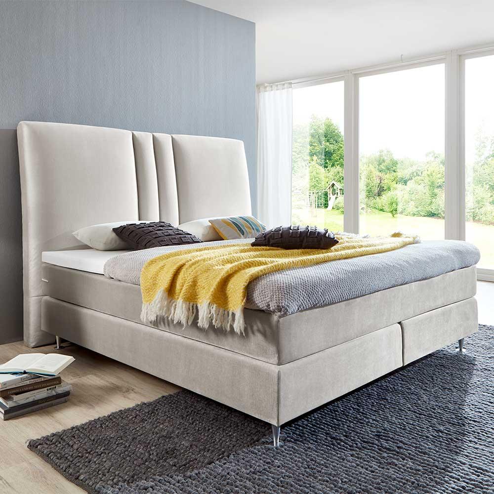 Boxspringbett in Creme Weiß Webstoff modern