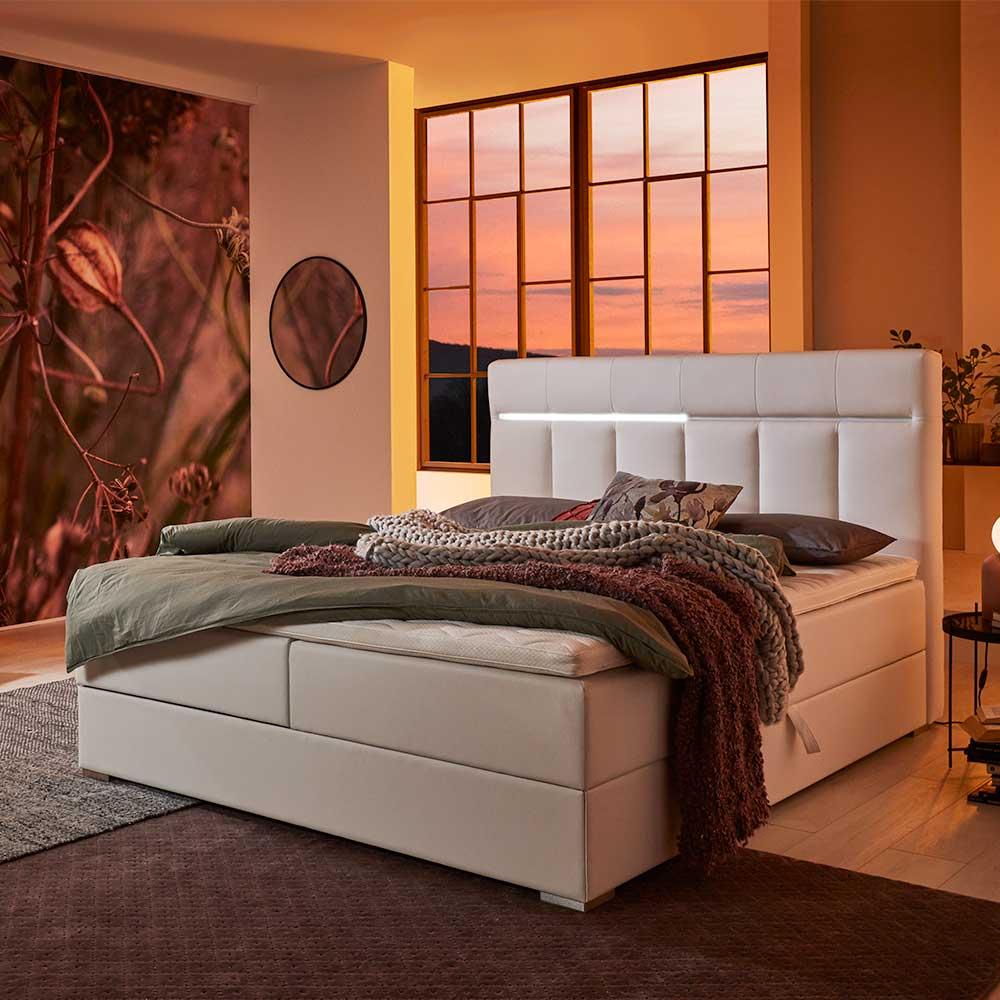 Springboxbett in Weiß Kunstleder LED Beleuchtung und Stauraum   Lampen > Leuchtmittel > Led   iMöbel