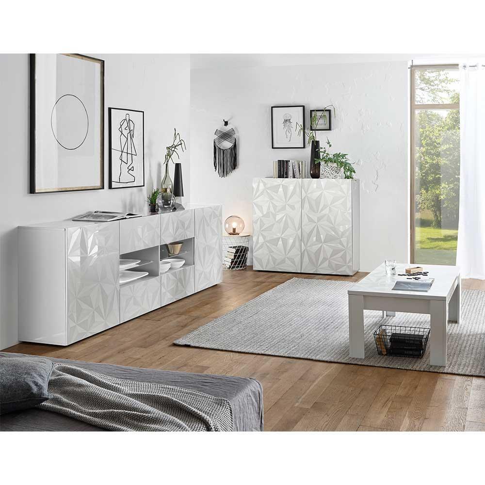 Wohnkombination in Hochglanz Weiß Siebdruck verziert (3-teilig)   Wohnzimmer > Schränke > Wohnwände   Homedreams