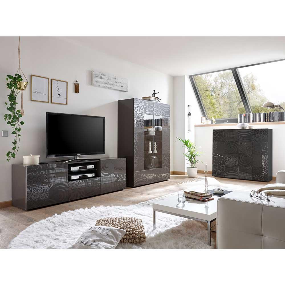 Moderne Wohnwand in Anthrazit Hochglanz Siebdruck verziert (dreiteilig)