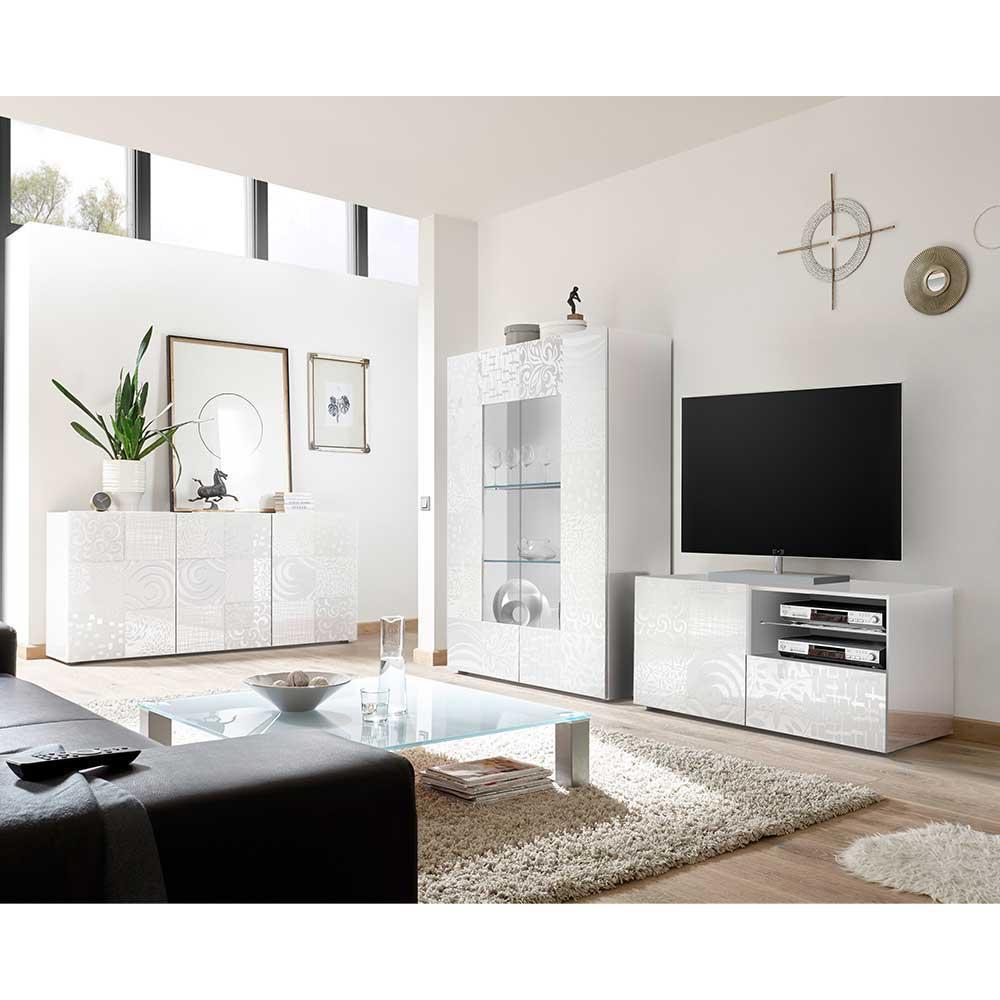 TV Wohnwand in Weiß Hochglanz Siebdruck verziert (dreiteilig)