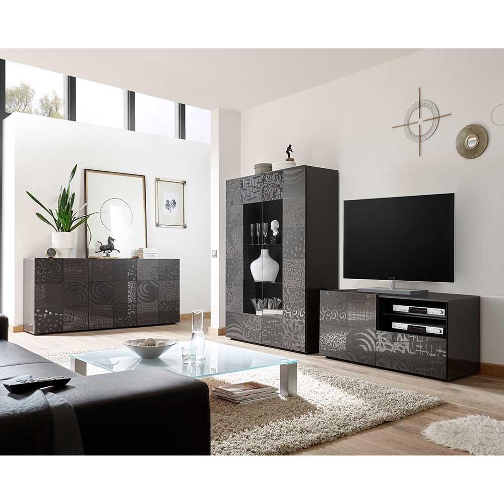 Design Wohnwand in Anthrazit Hochglanz Siebdruck verziert (dreiteilig)