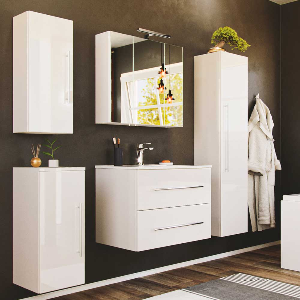 Hochglanz Badezimmerset in Weiß LED Beleuchtung (fünfteilig)