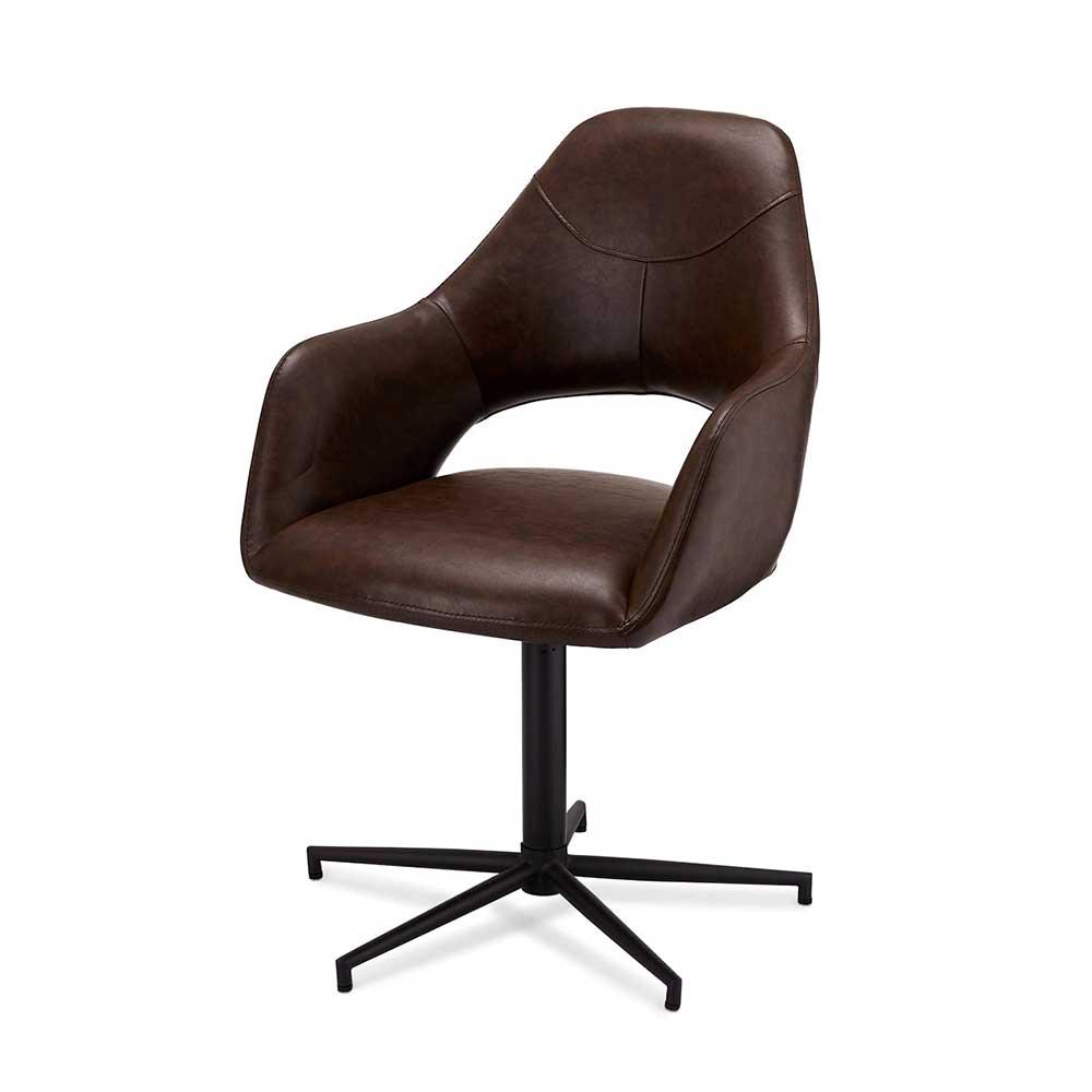 Armlehnen Esstisch Stühle in Dunkelbraun Kunstleder drehbar (2er Set)