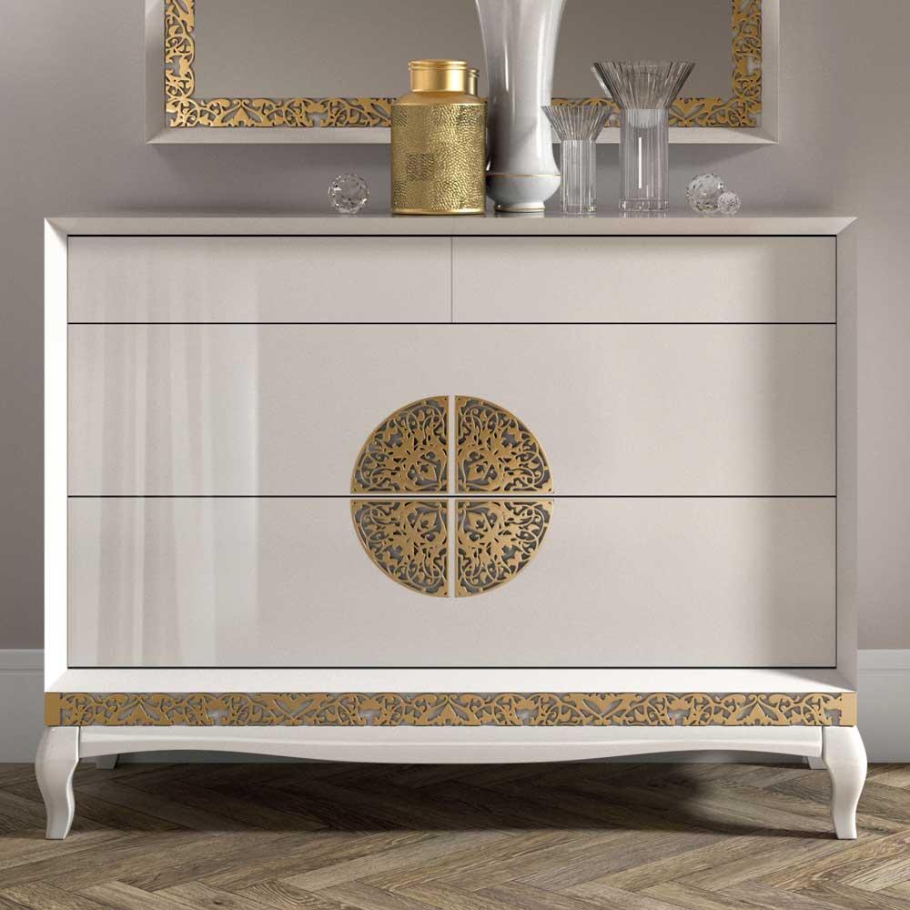 Italienisches Design Sideboard in Weiß Blattgold verziert